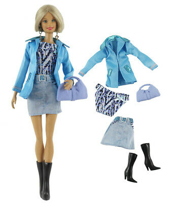 5 PCS Set Fashion Outfit Coat+vest+skirt+bag+boots FOR 11 in. Doll Clothes #04