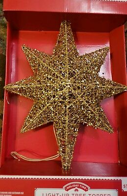 NIB Holiday Time Glitter Tinsel Thread Gold Star Tree Topper, 13.5in 8 point