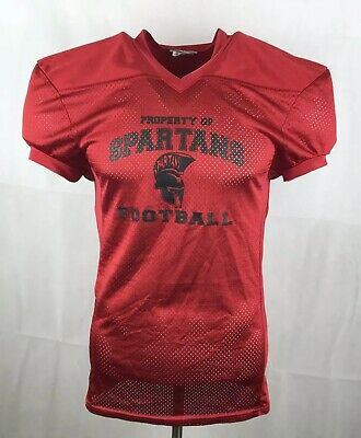 Spartans American Football Jersey Red Short Sleeve #10 Small Mens L / XL Youth