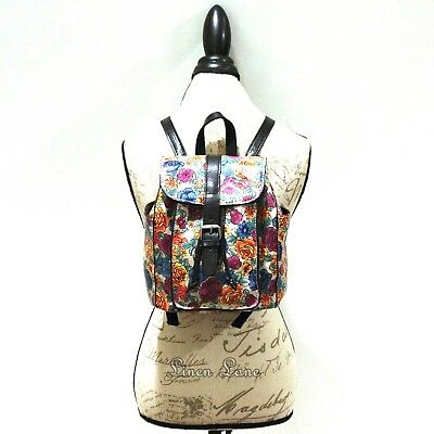 PATRICIA NASH Aberdeen Backpack FLORAL Spanish Villa LEATHER Purse Black NWT