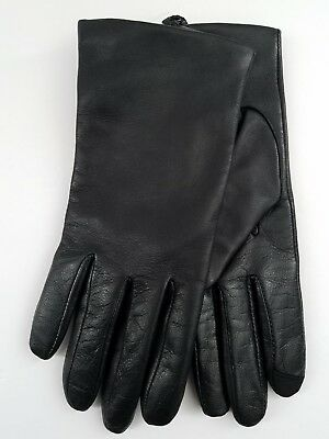 NEW Fownes Touchpoint Womens 100% Cashmere Lined Black  Leather Smart Gloves L