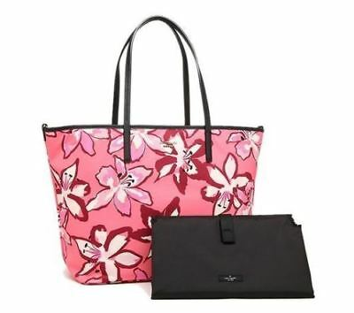 New Kate Spade Classic Nylon Harmony Baby Diaper Bag Surprise Coral Multi Pink
