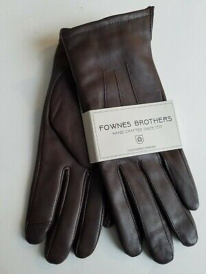 NEW Fownes Touchpoint Womens Brown Leather Faux Fur Lined Smart Gloves L