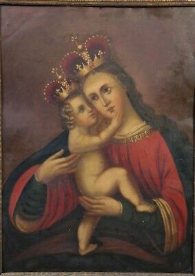 19thC Antique RELIGIOUS Old MEXICAN RETABLO MADONNA Jesus CHRIST Mary PAINTING
