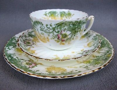Antique Staffordshire TEA TRIO cup saucer plate. Possibly Wileman Shelley Foley
