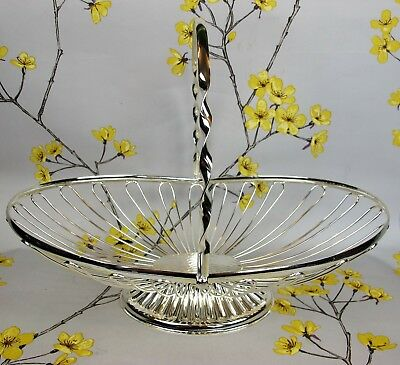Superb large silver plated wire BASKET with a handle. FRUIT or BREAD. Vintage.