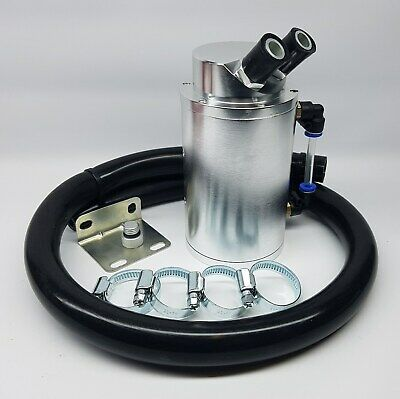Silver Alloy Oil Catch Tank Can Black 19mm Hose VW Audi Seat Skoda 1.8 20v Turbo
