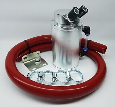 Silver Alloy Oil Catch Tank Can Red 19mm Hose VW Audi Seat Skoda 1.8 20v Turbo