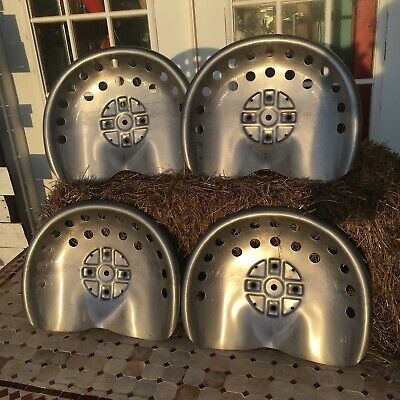 Lot Of 4 Polished Metal Tractor Seats Rustic Ranch Farm Wagon Stool Home Antique