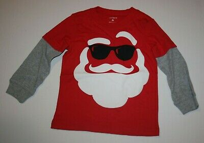 New Carter's Boys Top 5T Red Cool Santa Claus Wears Sunglasses Graphic Tee