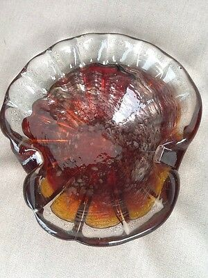 Colorful Vintage 1950's - 60's Era Modern Heavy Style Glass Ashtray