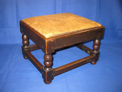 Antique Victorian Solid Oak stool With A Old Leather Top