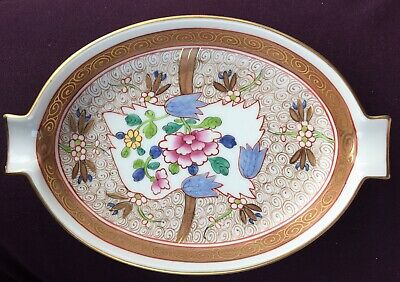 Vintage Herend Hungary Gold w/Multi Floral Chinese Bouquet Ashtray