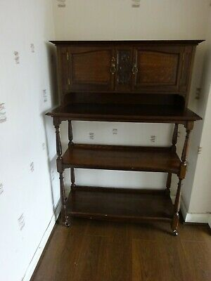 Art Nouveau 3 Tier Display Shelves Cabinet Whatnot Oak ? Mahogany ?