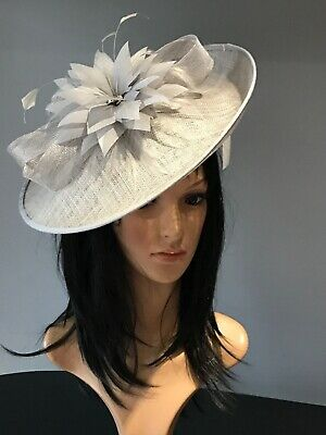 Nigel Rayment Silver Grey Wedding Ascot Hat Disc Fascinator Mother Of The Bride