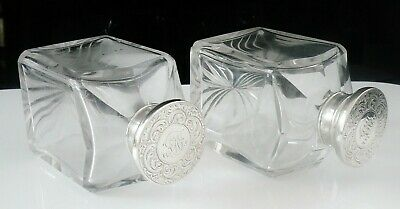 Pair of Square Glass Scent or Cologne Bottles Silver Plated Lids c.1910