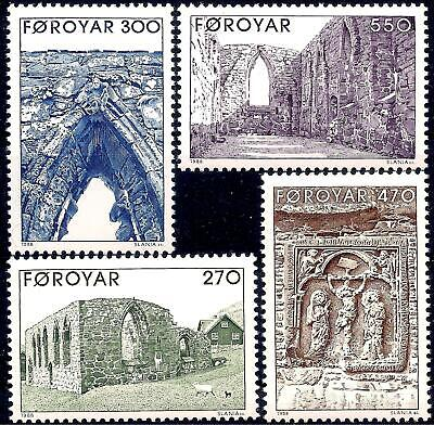 Faroe Islands 1988 Buildings Cathedral Ruins Ancient Diocese History 4v set MNH