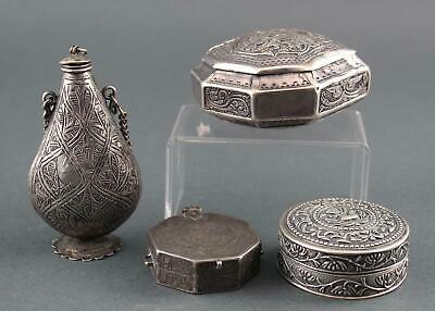 3 Antique Handmade & Engraved Middle Eastern Silver Boxes & 1 Small Bottle, NR