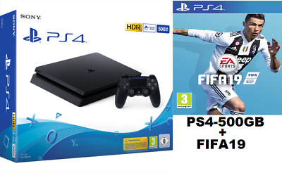 PS4 Play Station 4 500GB F Black PIU FIFA 19 Nero Garanzia Italia 24 MESI SONY