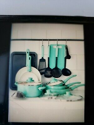 Greenlife Toxin Free Healthy Non Stick Cookware Set Pots Pans 18 Piece Turquoise
