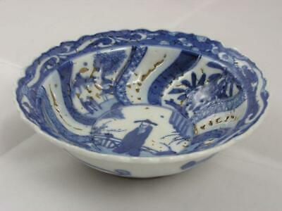 Antique Japanese Arita Imari bowl with glaze misses mid-18C handpainted #2305