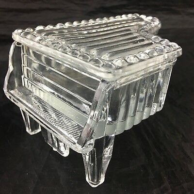Vintage Piano Shaped Trinket Box Clear Ribbed Glass Footed Lidded Glassware