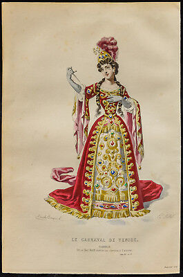 1875 - Engraving Emile Bayard: the Carnival of Venise. Costume. (Regnard)