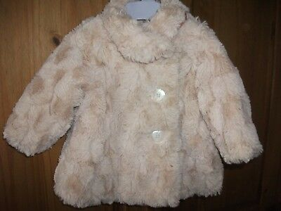 Baby Girls Two Tone, Super Soft,Satin Lined, Faux Fur Coat - Age 3-6 Months