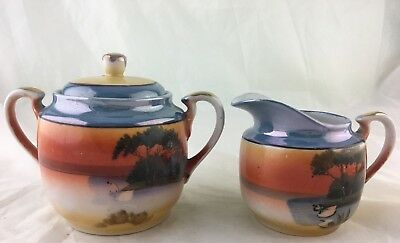 Vintage Sugar Bowl & Creamer Set Lusterware Swan Lake Scenic Hand Painted