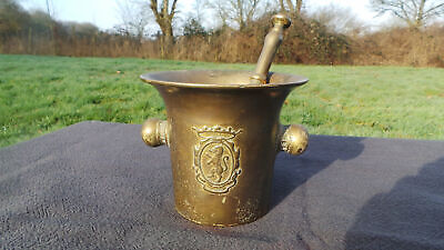 Antique French Pestle and Mortar Large Solid Bronze Brass Ideal Kitchen Utensil