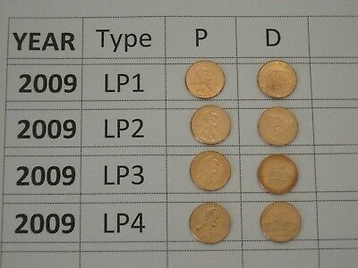 2009 to 2019 P D Uncirculated Lincoln Cent Set