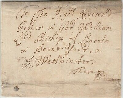 c1705 Letter cover Bishop of Lincoln William Wake  at Westminster