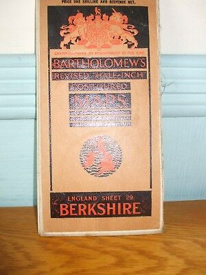 Bartholomew's Revised Half-Inch Contoured Cloth Map Berkshire Sheet 29 Fold Out