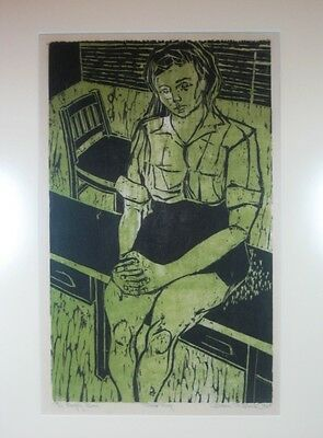 20th C American Modernist Woodcut Print Portrait Young Girl Signed Proof 1960s