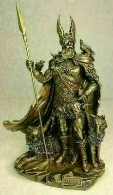 Odin VIKING NORSE MYTHOLOGY GOD W WOLVES Statue Antique Bronze Finish