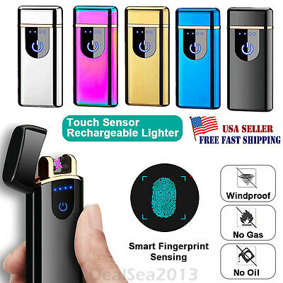 USB Electric Dual Flameless Lighter Smart Touch Sensor Rechargeable Windproof