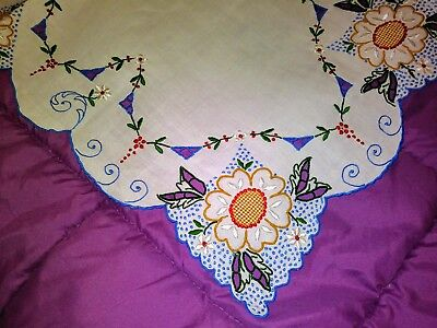 """High Quality Color Embroidered and Cutwork Madeira Linen Runner 27"""" by 12 1/2"""""""