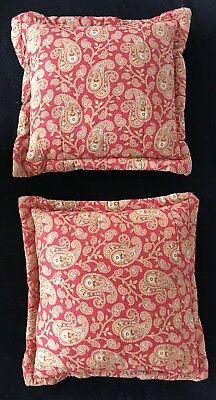⭕️ Rare SET OF 2 Vintage Antique 19th Century French Indienne Quilted Pillows