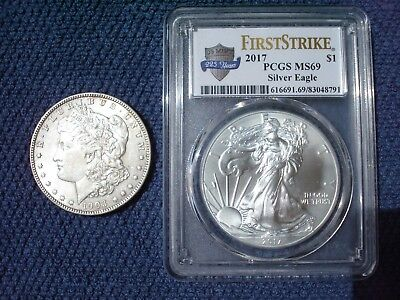TWO SILVER COINS : 1903 Morgan  Dollar + 2017 FIRST STRIKE PCGS MS69 AMER. EAGLE