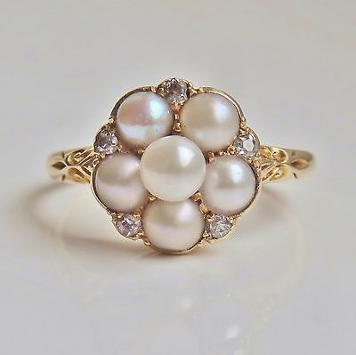 Stunning Antique Victorian 18ct Gold Diamond & Pearl Cluster Ring c1885