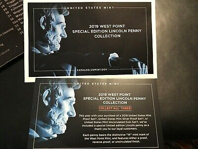 1-2019 W Proof Lincoln Cent  Envelope and Collection card- No penny