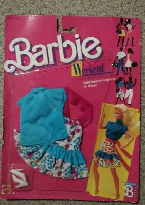 Brand New 1988 Barbie Doll Clothing Weekend Collection 1528 Floral Skirt & Shirt