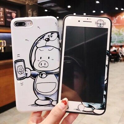 Pig 360° Full Cover Phone Case + Tempered Glass Film Screen Protector For iPhone