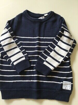 Boys Country Road Size 3 Navy and Whute Striped Cotton Jumper