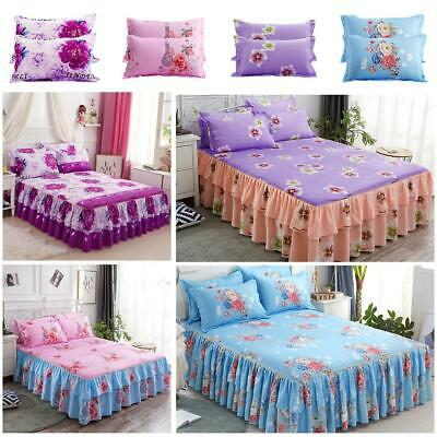 Elastic Bedspread Queen Size Dust Ruffle Bed Skirt Pillowcase Bedding Set New