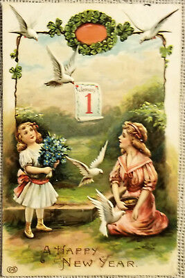 Vintage New Year's Day Postcard -Victorian Girls and Doves