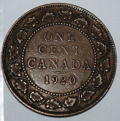 Canada 1920 1 Large cent Canadian one George V Penny coin Lot #N33