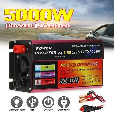 5000W Car Power Inverter DC12/24/48/60V to 110/220V Modified Sine Wave Converter