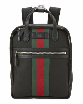 077d13a1235 100% AUTHENTIC NEW Gucci Beige Web Logo Stripe Backpack bag ...