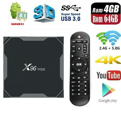 X96 Max 4G+64G Quad-Core TV Box Android 8.1 DDR4 Wifi Set Top Box 4K H.265 1000M